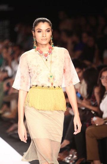 Yellow peplum waistband from Valliyan by Nitya Arora