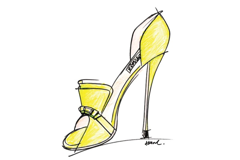 A sketch from the Badgley Mischka Resort 2014 collection. Photo by Courtesy of Badgley Mischka