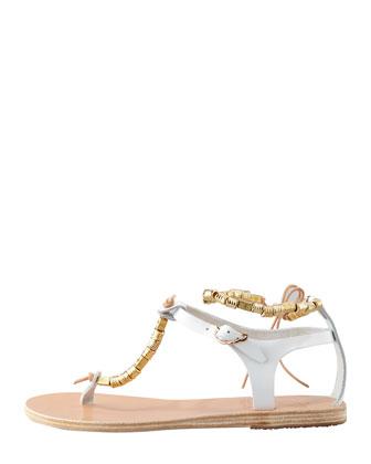 Ancient Greek Sandals Chrysso Beaded Vachetta Thong Sandal