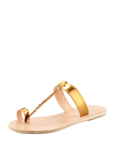 ANCIENT GREEK SANDALS Melpomeni Toe-Ring Braided Flat Sandal