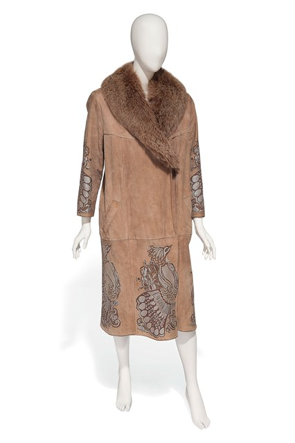 Suzy Menkes To Auction Her Wardrobe  Bill Gibb suede leather coat embroidered with peacocks  Estimate- £250 - £350