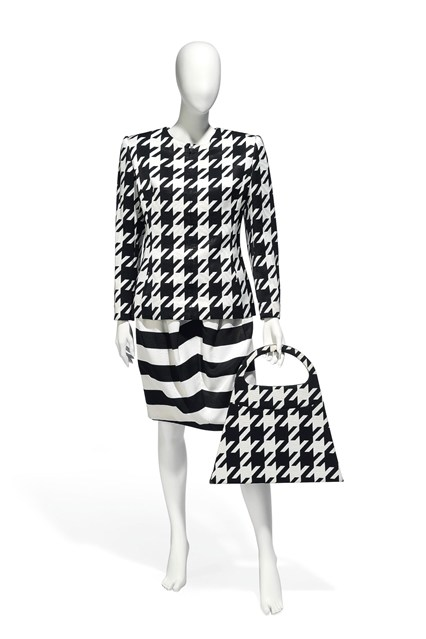 Suzy Menkes To Auction Her Wardrobe  Christian Lacroix printed silk ensemble with matching handbag  Estimate- £300 – £500