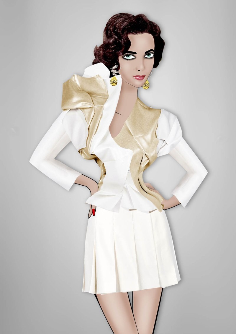 Elizabeth Taylor By Lula Comme des Garçons white and gold jacket with pleated skirt