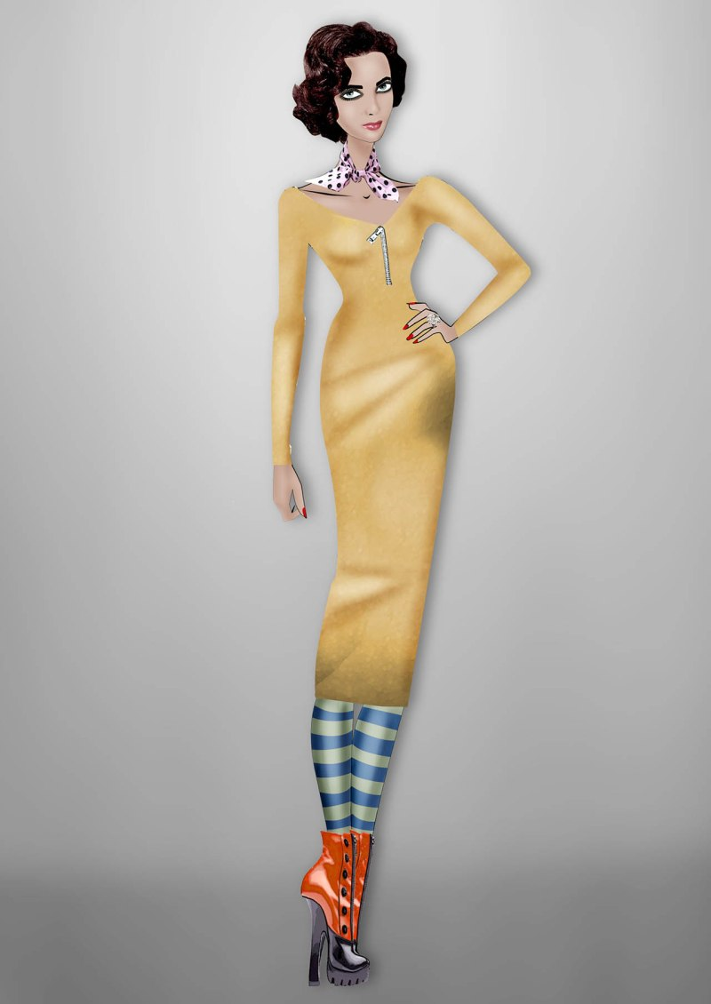 Elizabeth Taylor By Lula Miu Miu custom gold stretch dress inspired by the Fall/Winter 2013 collection