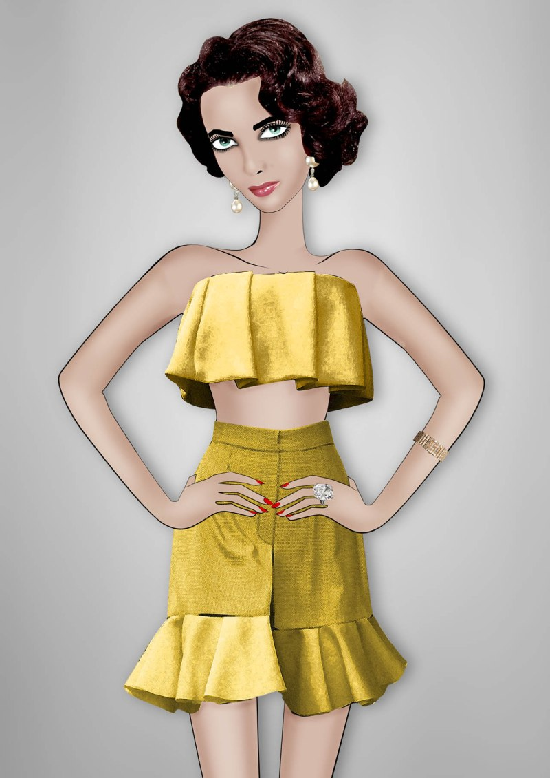 Elizabeth Taylor By Lula J.W. Anderson custom ruffled bralette and ruffled culottes in metallic gold inspired by the Spring/Summer 2013 collection