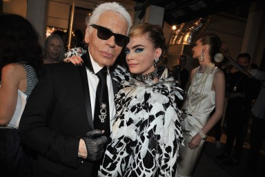 Karl Lagerfeld and Cara Delevingne Photo by Stephane Feugere