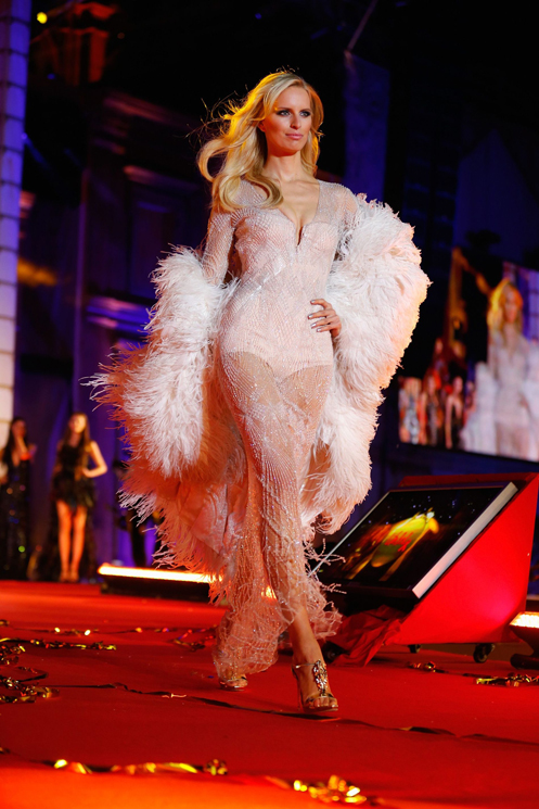 VIENNA, AUSTRIA - MAY 25:  Karolina Kurkova walks the catwalk during the 'Life Ball 2013 - Show' at City Hall on May 25, 2013 in Vienna, Austria.  (Photo by Thomas Niedermueller/Life Ball 2013/Getty Images)