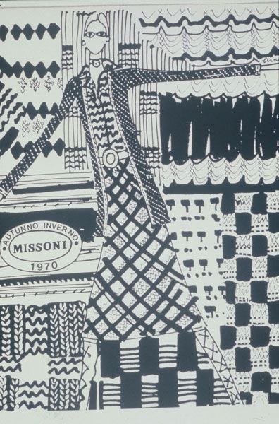 An illustration by  Brunette for Fall 1971 Missoni Collection
