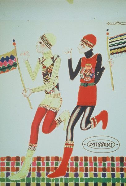 An illustration by  Brunette for Fall 1972  Missoni Collection