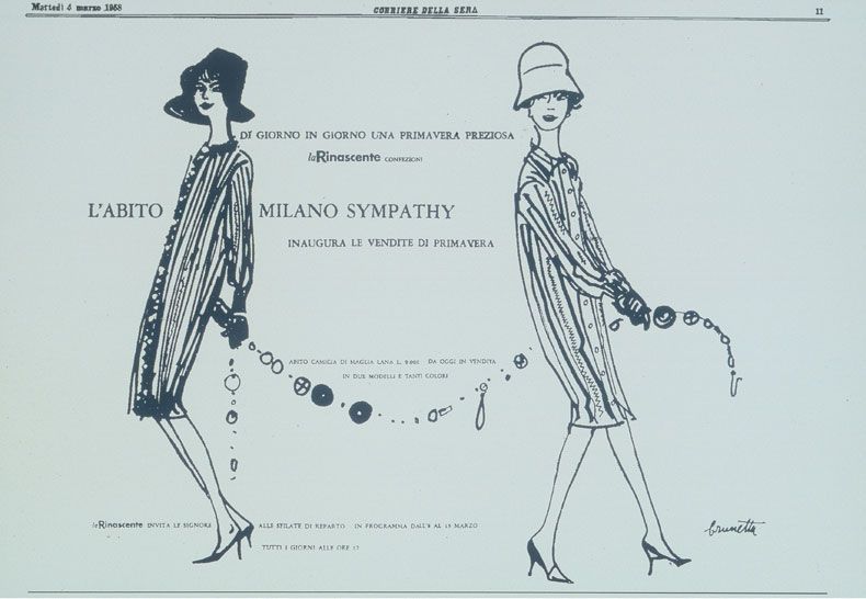 "An illustration of Brunette for the 1958 spring/summer collection of ""Milano-Simpathy,"" the first name chosen by Missoni for their collection"
