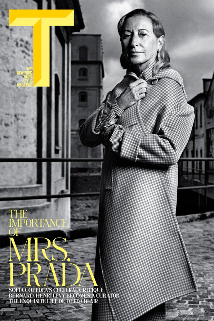 Miuccia Prada by Mario Sorrenti for T: The New York Times Style Magazine