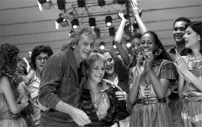 Sunday, March 17, 1982 file photo shows Rosita, center, and Ottavio Missoni, center left, as they take the catwalk after presenting their fashion collection in Milan, Italy.  It's all about the jet-setter life on Rodeo Drive in Beverly Hills, Calif, and next week multiple generations of Missonis as well as supermodel Iman will land there. They're the newest honorees of the Rodeo Walk of Style, which gives fashion influencers a permanent place to celebrate their signature looks.  (AP Photo/File)