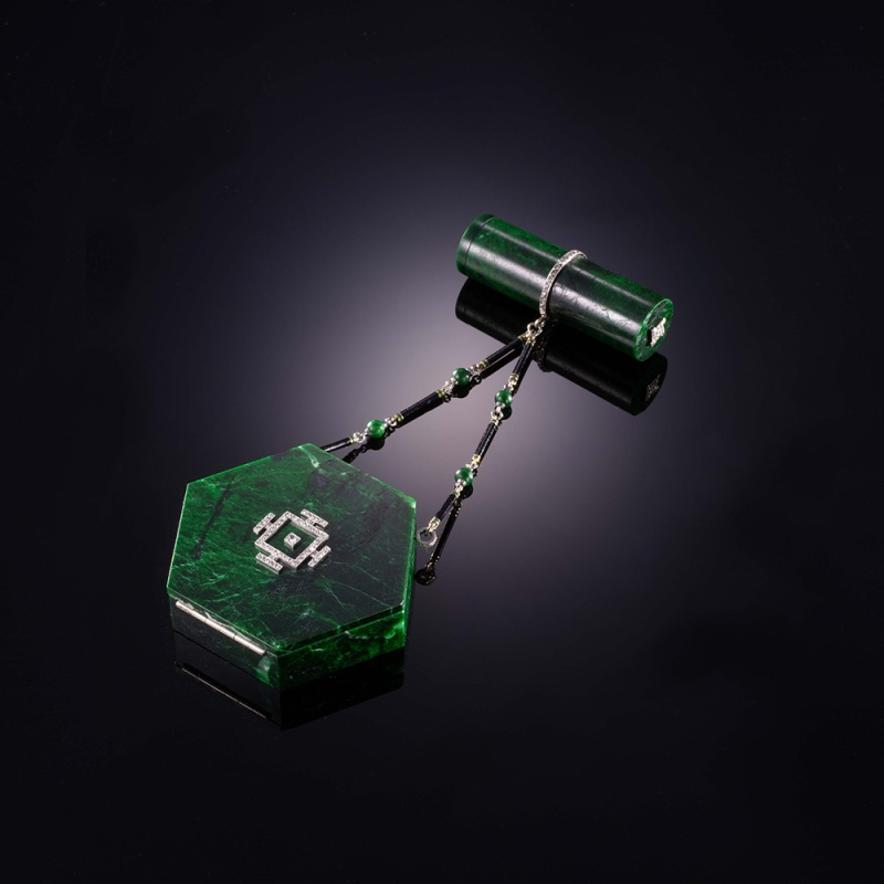 "Rectangular ""Nécessaire de beauté"", circa 1920-25, in jade, gold, enamel, platinum and diamonds and signed Janesich."