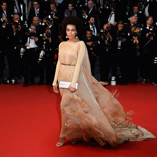 Solange Knowles, in Stéphane Rolland Couture, with Chopard jewels and a Jimmy Choo clutch