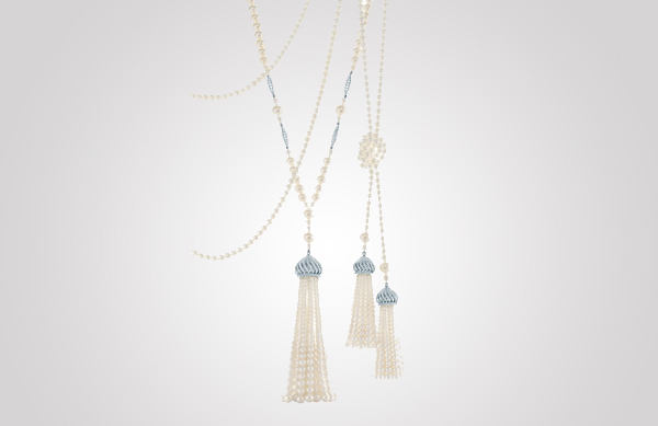 Tassel pendants of diamonds, freshwater cultured pearls and platinum. From The Great Gatsby collection by Tiffany & Co., inspired by Baz Luhrmann's film in collaboration with Catherine Martin. $200,000 Photo Credit: © Tiffany & Co.