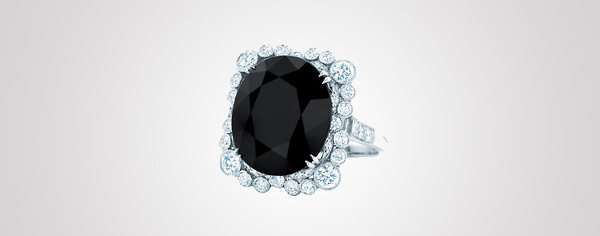 Ring with a cushion-cut black onyx, diamonds and platinum. From The Great Gatsby collection by Tiffany & Co., inspired by Baz Luhrmann's film in collaboration with Catherine Martin, featured in the 2013 Blue Book. $20,000 Photo Credit: © Tiffany & Co.