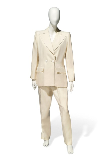 Suzy Menkes To Auction Her Wardrobe  Yves Saint Laurent ivory trouser suit  Estimate- £300 – £500