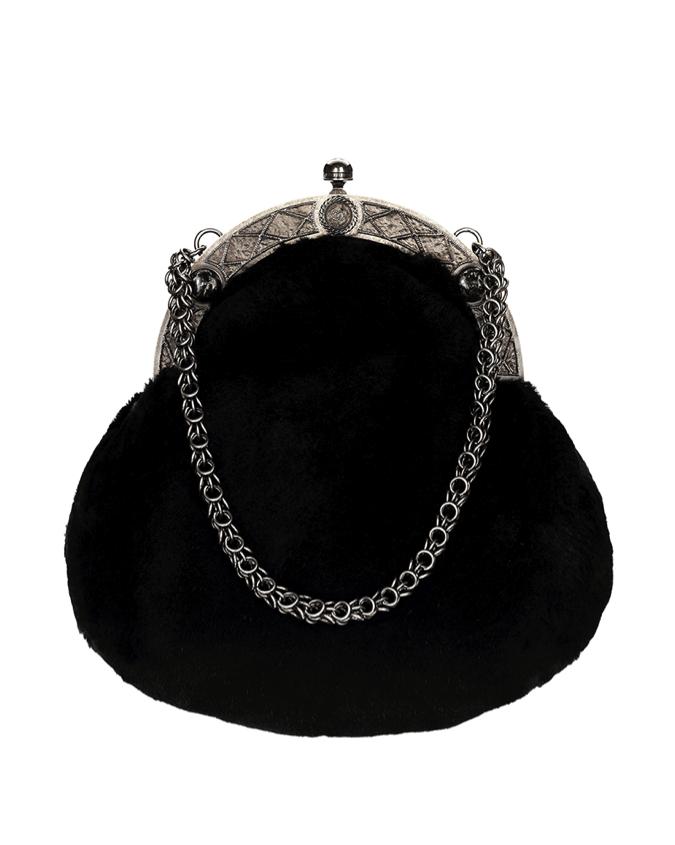 CHANEL Black fur bag