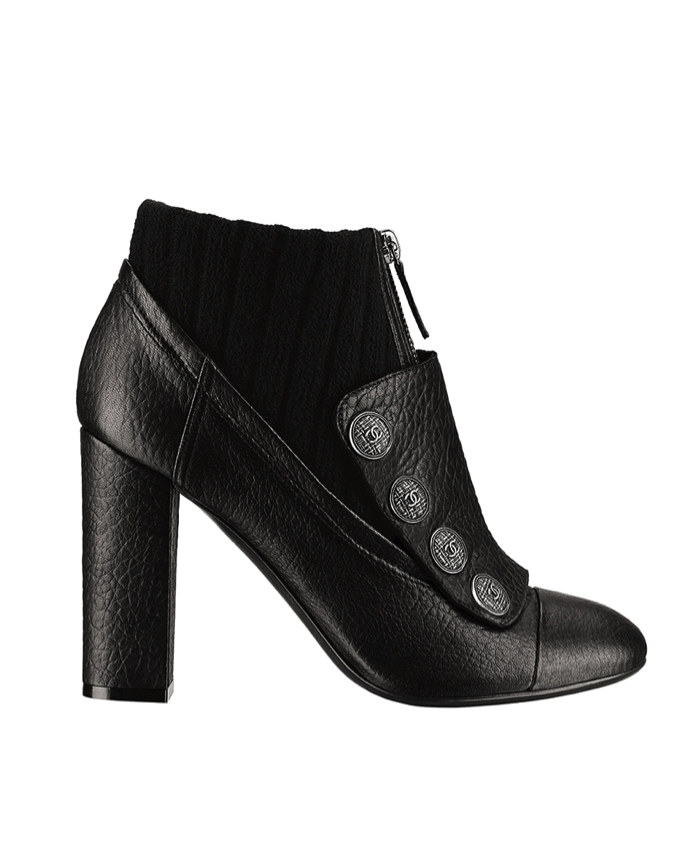 CHANEL Black leather and knitwear short boot
