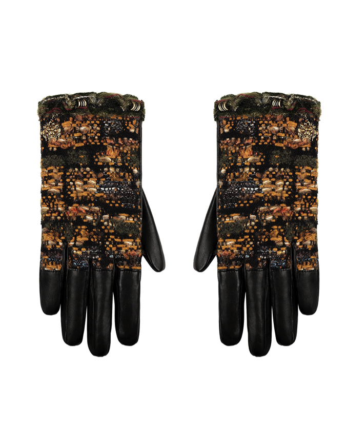 CHANEL Black leather and yellow tweed gloves