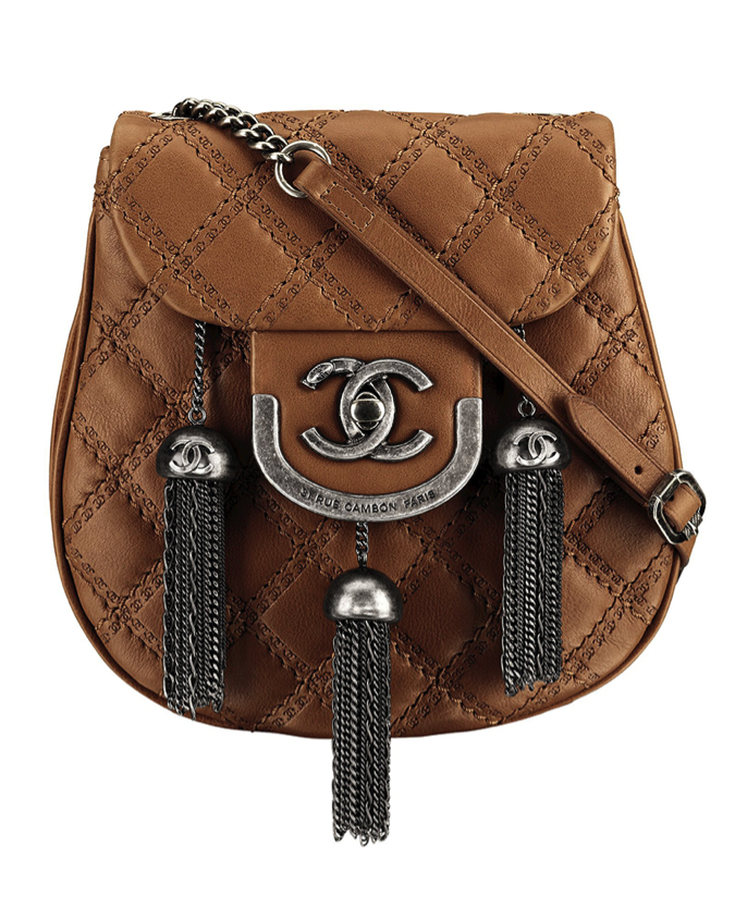 CHANEL Light Brown Leather Bag with Silver Metal Pompoms