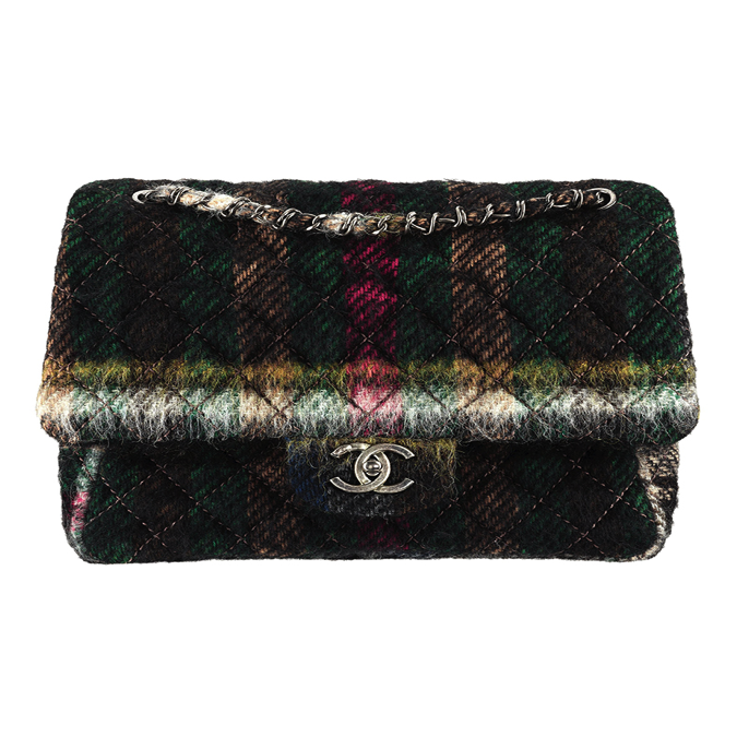 CHANEL Multicoloured mohair wool bag with a CC lock