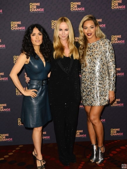 Co-founders Salma Hayek Pinault, Creative Director of Gucci Frida Giannini and singer Beyonce backstage at the Chime For Change- The Sound Of Change Live Concert at Twickenham Stadium in London