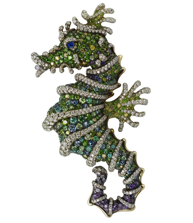 Fabergé Diamond, demantoid, alexandrite, paraiba, tzavorite and sapphire brooch. Photo courtesy press office