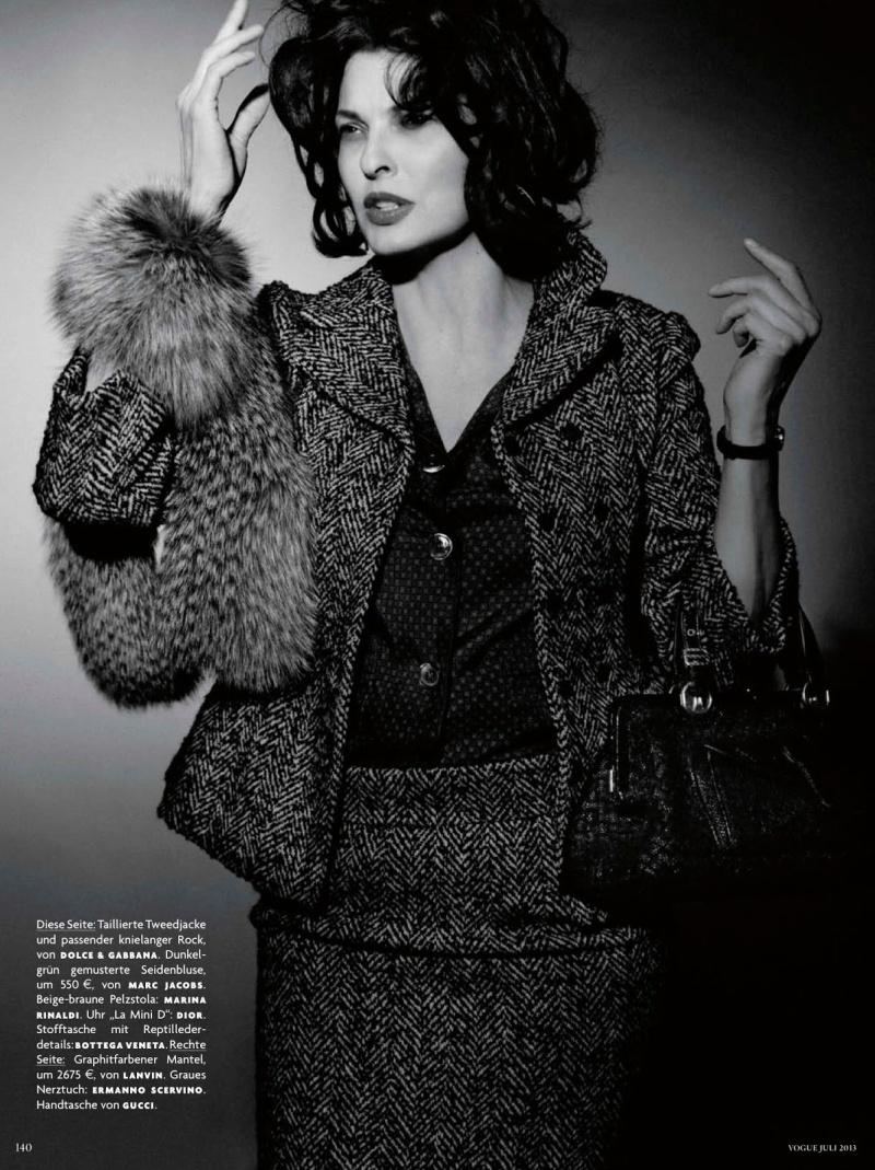 Linda Evangelista by Karl Lagerfeld for Vogue Germany July 2013