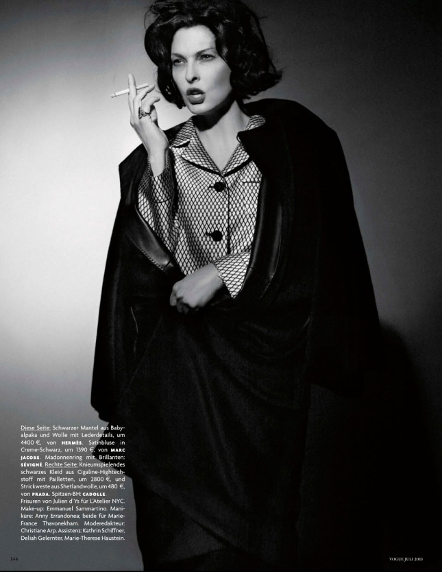 Linda Evangelista by Karl Lagerfeld for Vogue Germany July 2013 -5