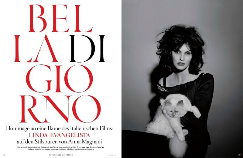 Linda Evangelista by Karl Lagerfeld for Vogue Germany July 2013 -7