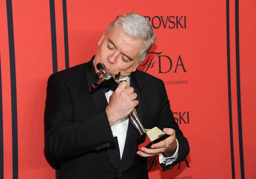 Media Award honoree Tim Blanks poses in the press room at the 2013 CFDA Fashion Awards at Alice Tully Hall on Monday, June 3, 2013 in New York. (Photo by Evan Agostini/Invision/AP)