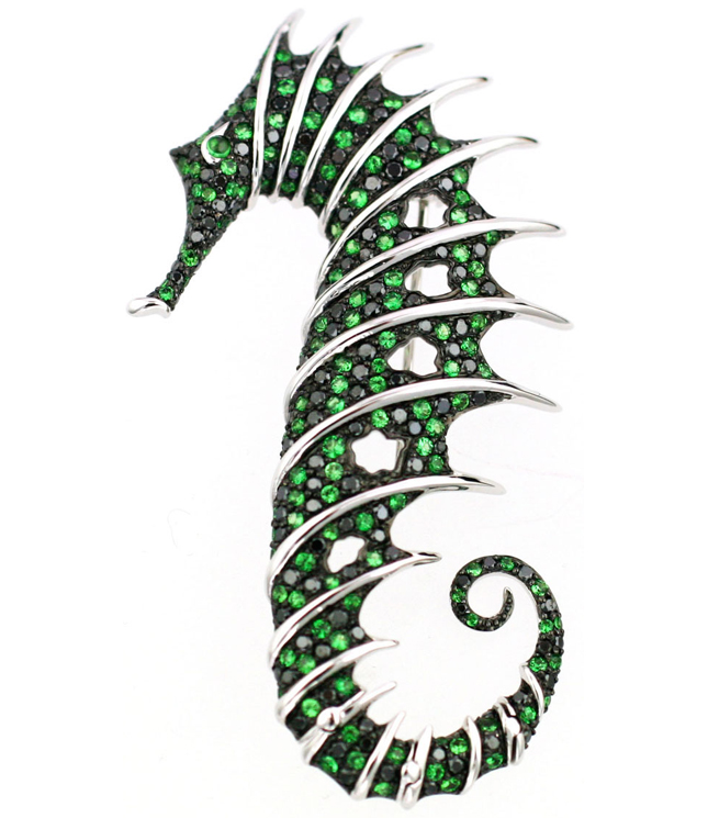 Stephen Webster Sea Horse white gold brooch with tzavorites and black diamonds. Photo courtesy press office