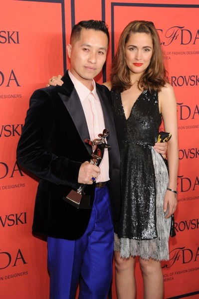 Winner of the CFDA Accessory Designer of the Year Award, Phillip Lim poses with Rose Byrne at the 2013 CFDA Fashion Awards at Alice Tully Hall on June 3, 2013 in New York City. (Photo by Jamie McCarthy/Getty Images)