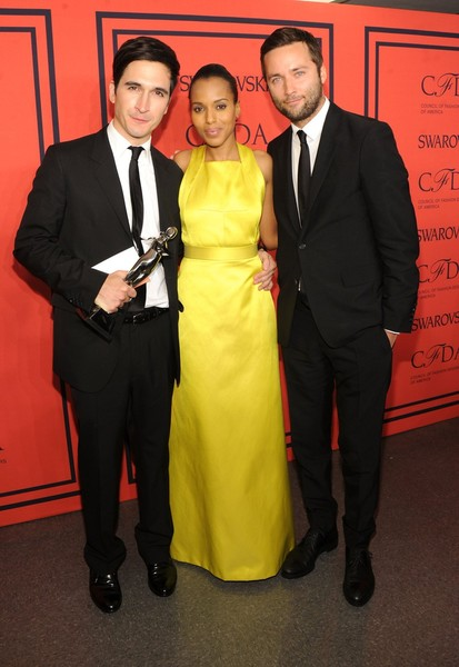 Winners of the CFDA Womenswear Designer of the Year Award Lazaro Hernandez and Jack McCollough of Proenza Schouler pose with Kerry Washington (C) at the 2013 CFDA Fashion Awards on June 3, 2013 in New York, United States.  (Photo by Jamie McCarthy/Getty Images)