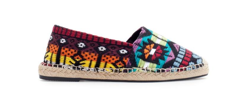 Zara  Ethnic print cotton and rope espadrilles, €20
