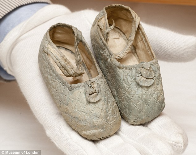 A pair of tiny booties belonging to Princess Maud, Queen Victoria's great-granddaughter, youngest daughter of Edward VII, and later