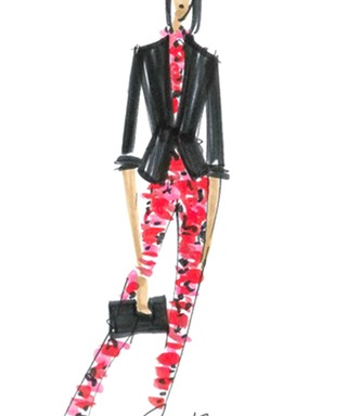 A sketch form the Banana Republic and L'Wren Scott collaboration Modern Collegiate