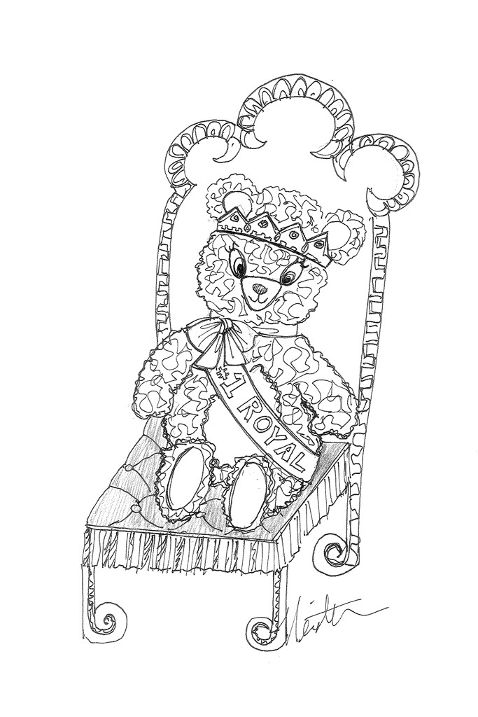 A teddy bear and matching throne by David Meister.