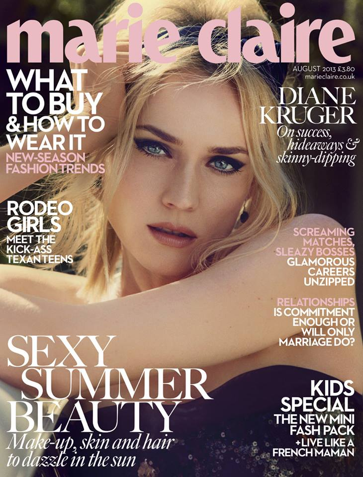 Diane Kruger by David Roemer for Marie Claire UK August 2013