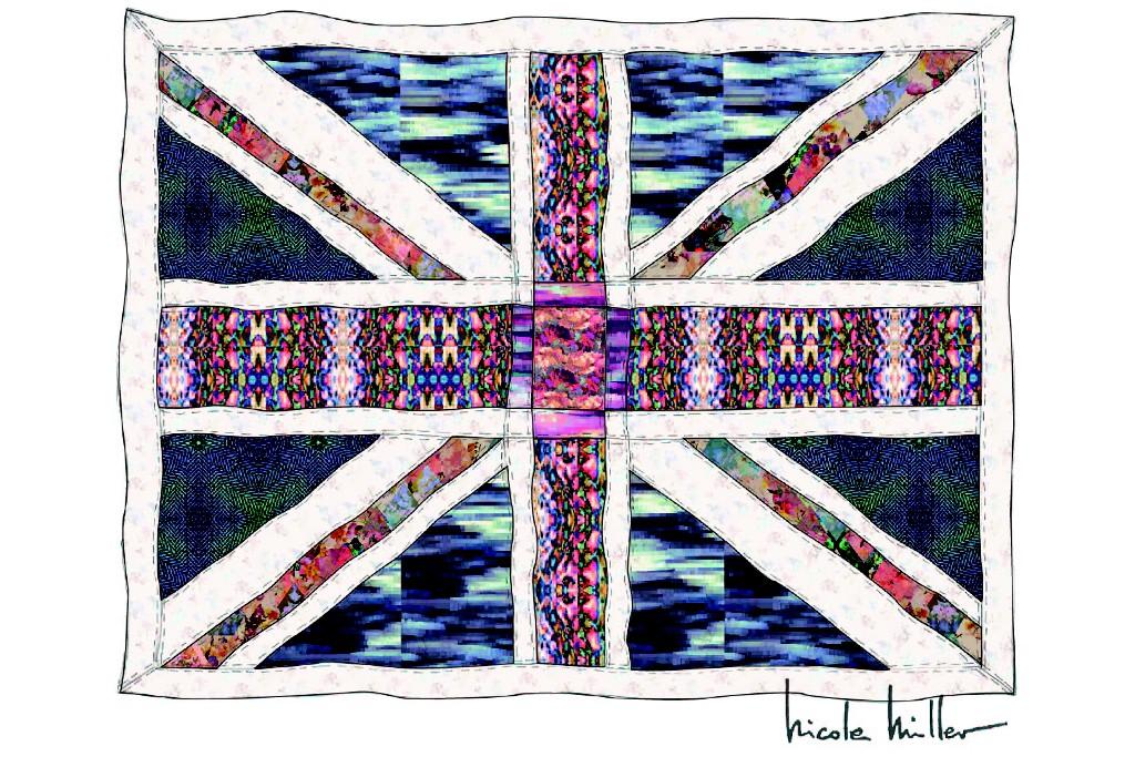 Nicole Miller's Union Jack quilt.