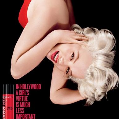 Sexy Hair ad featuring Marilyn Monroe.