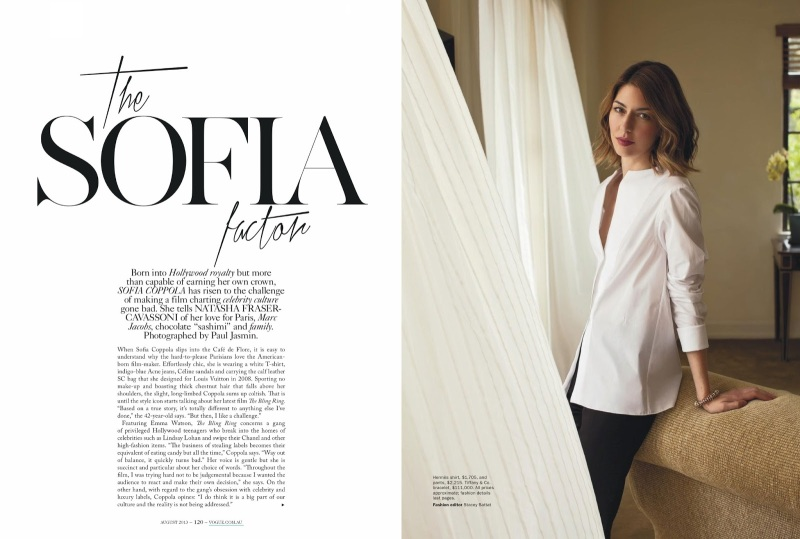 Sofia Coppola by Paul Jasmin for Vogue Australia August 2013