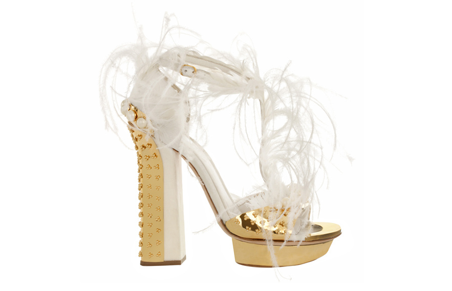 Alexander McQueen Ostrich feather and leather heels, price on application.