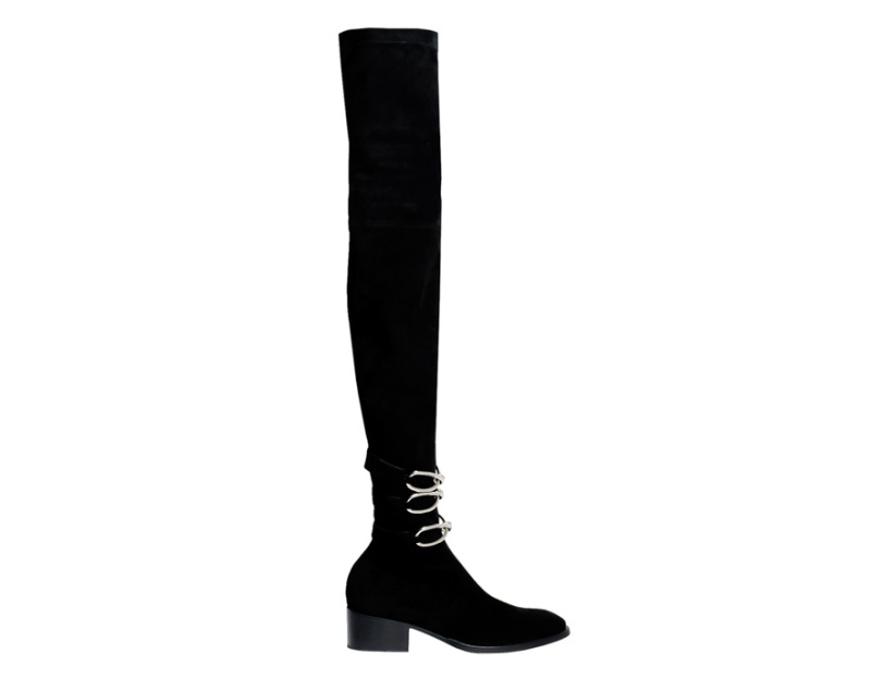 Balenciaga  Velour calfskin and metal chain thigh boots, price on application