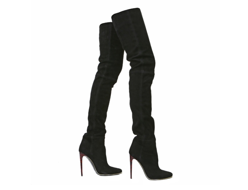 Balmain  Velour calfskin, thigh boots, price on application.