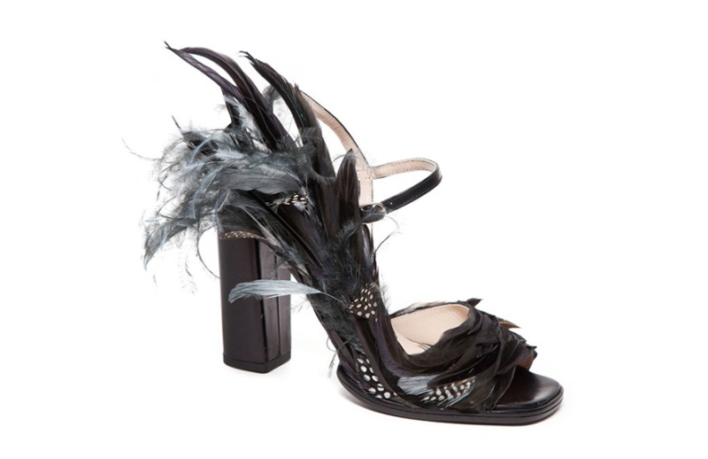 Dries Van Noten  Leather and feather heels, price on application.