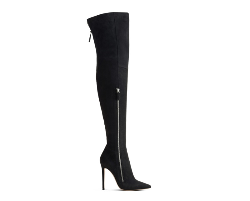 Gianvito Rossi  Velour calfskin thigh boots, €1190