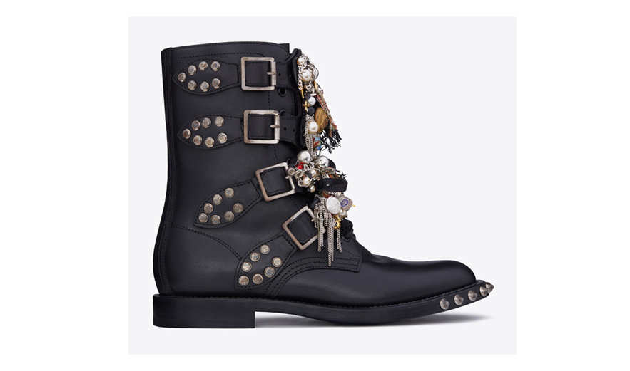Saint Laurent Black leather rangers with studs and charms, €5,695
