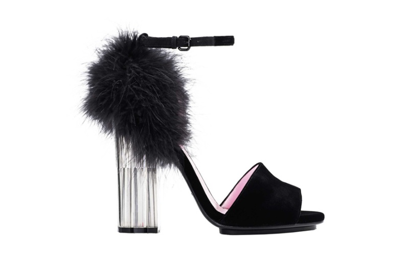 Sonia Rykiel  Velour calfskin, plexiglass and fur heels, price on application.